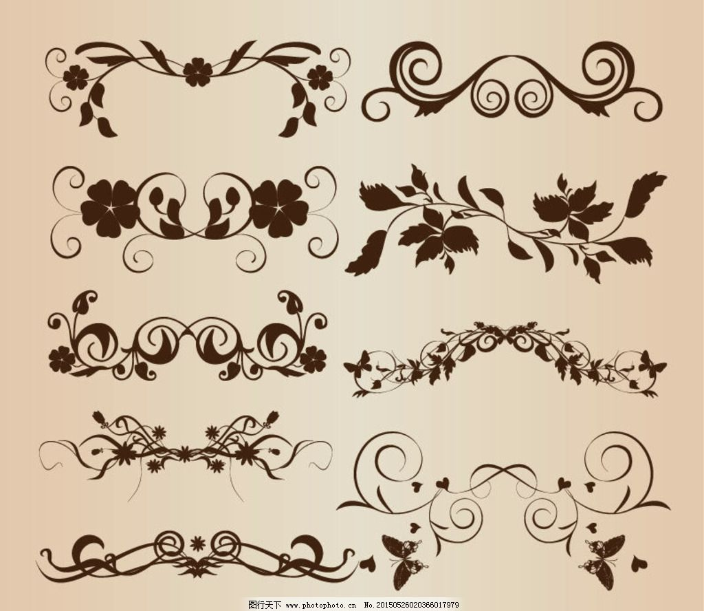 矢量花纹 欧式花纹边框 花纹花边 欧式边框花纹 欧式怀旧复古 花纹
