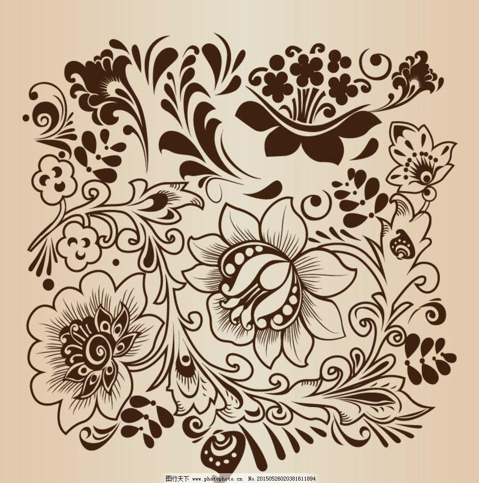 复古植物花纹图片