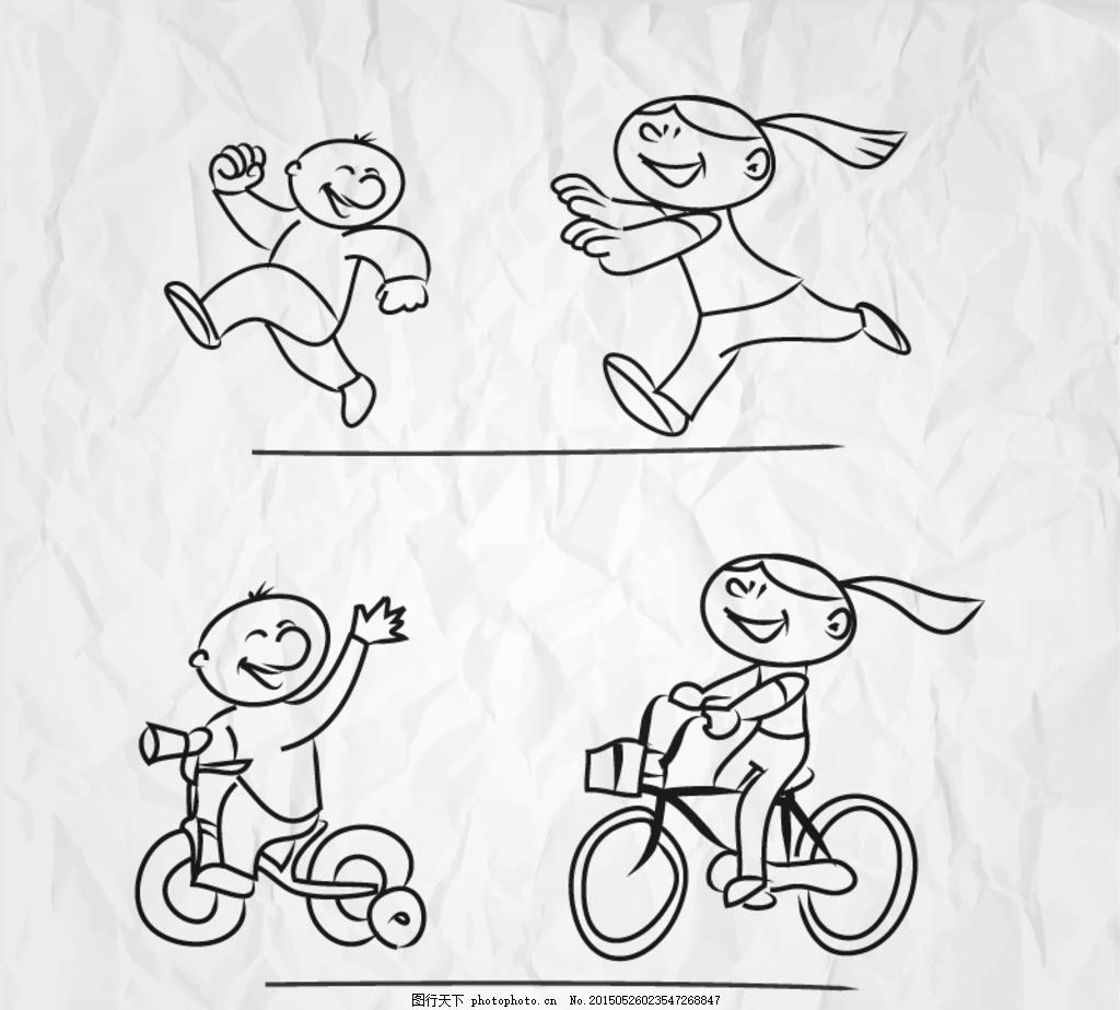 女孩骑车简笔画