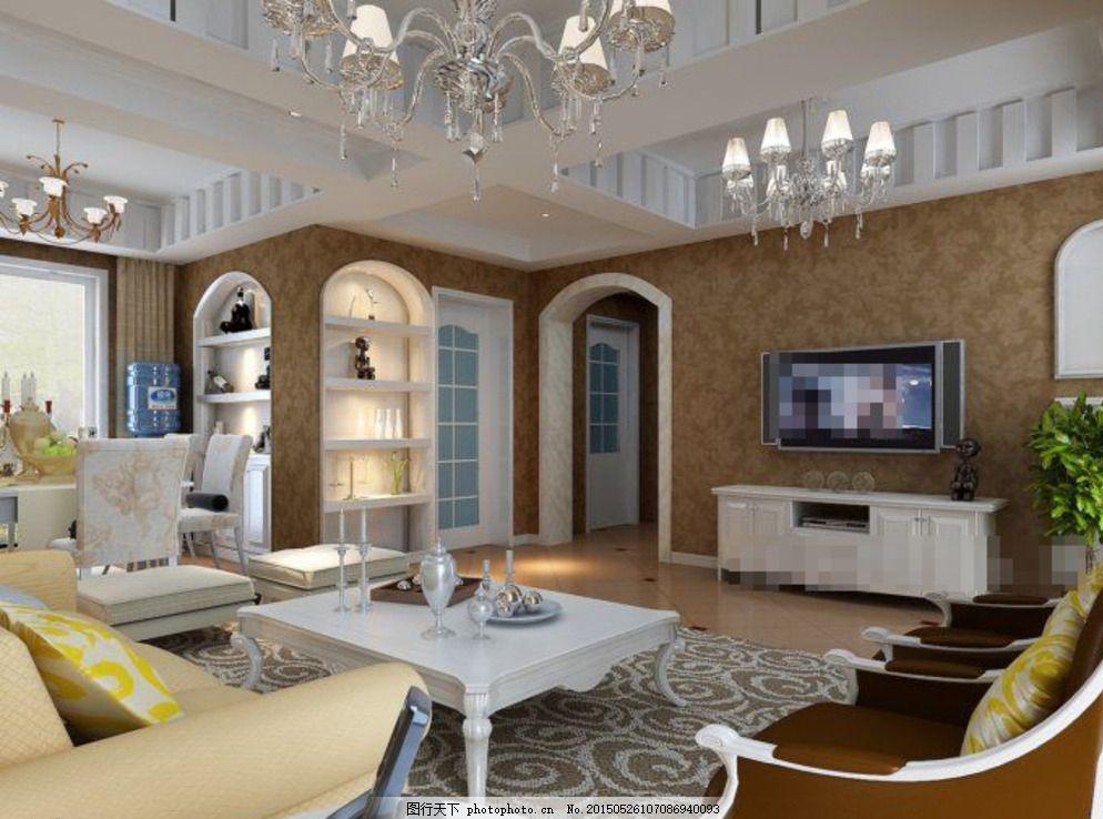 简约欧式客厅 客厅装饰 电视机 沙发茶几 室内模型 灰色