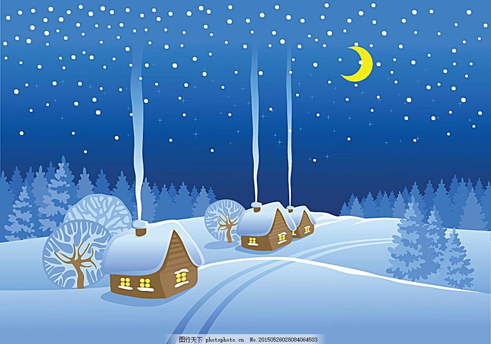 可爱卡通雪景
