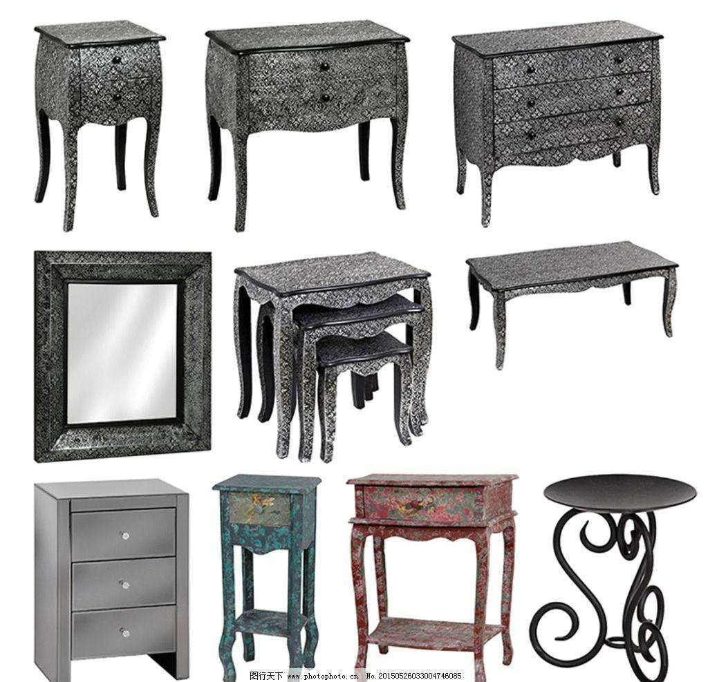 家具素材 西式家具 矮柜 欧式古典家具 镜子 家私 台 床头柜 桌子