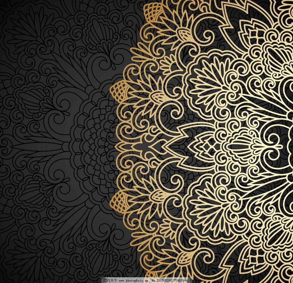 欧式复古底纹黑色背景图片