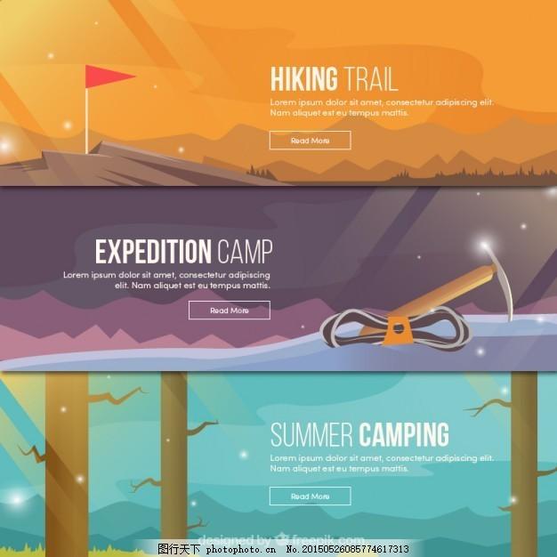 各种冒险横幅 旗帜 夏天 自然 山 森林 体育 露营 野营 探险