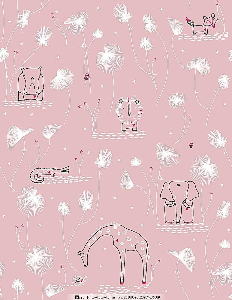 卡通背景素材 底纹背景 花纹背景 插画 手绘背景 手绘动物 底纹边框