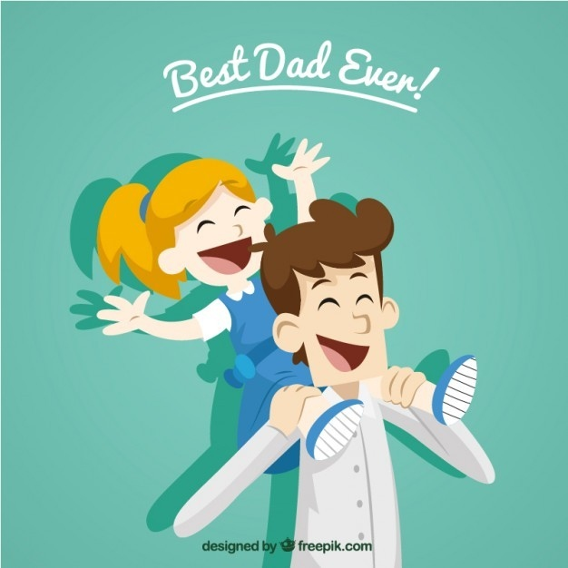 最好的爸爸! 孩子 父亲节 插图 一天 女儿 永远 青色 天蓝色