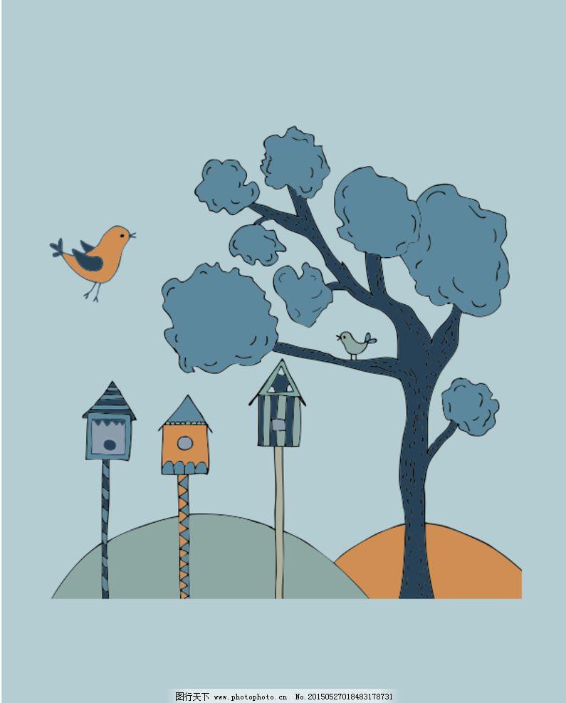 小鸟 灰色小树 小树 卡通小树 卡通背景小树 设计 动漫动画 风景漫画