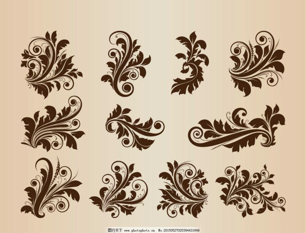 欧式复古花纹 欧式花纹底纹 欧式古典花纹 复古植物花纹 手绘植物花纹