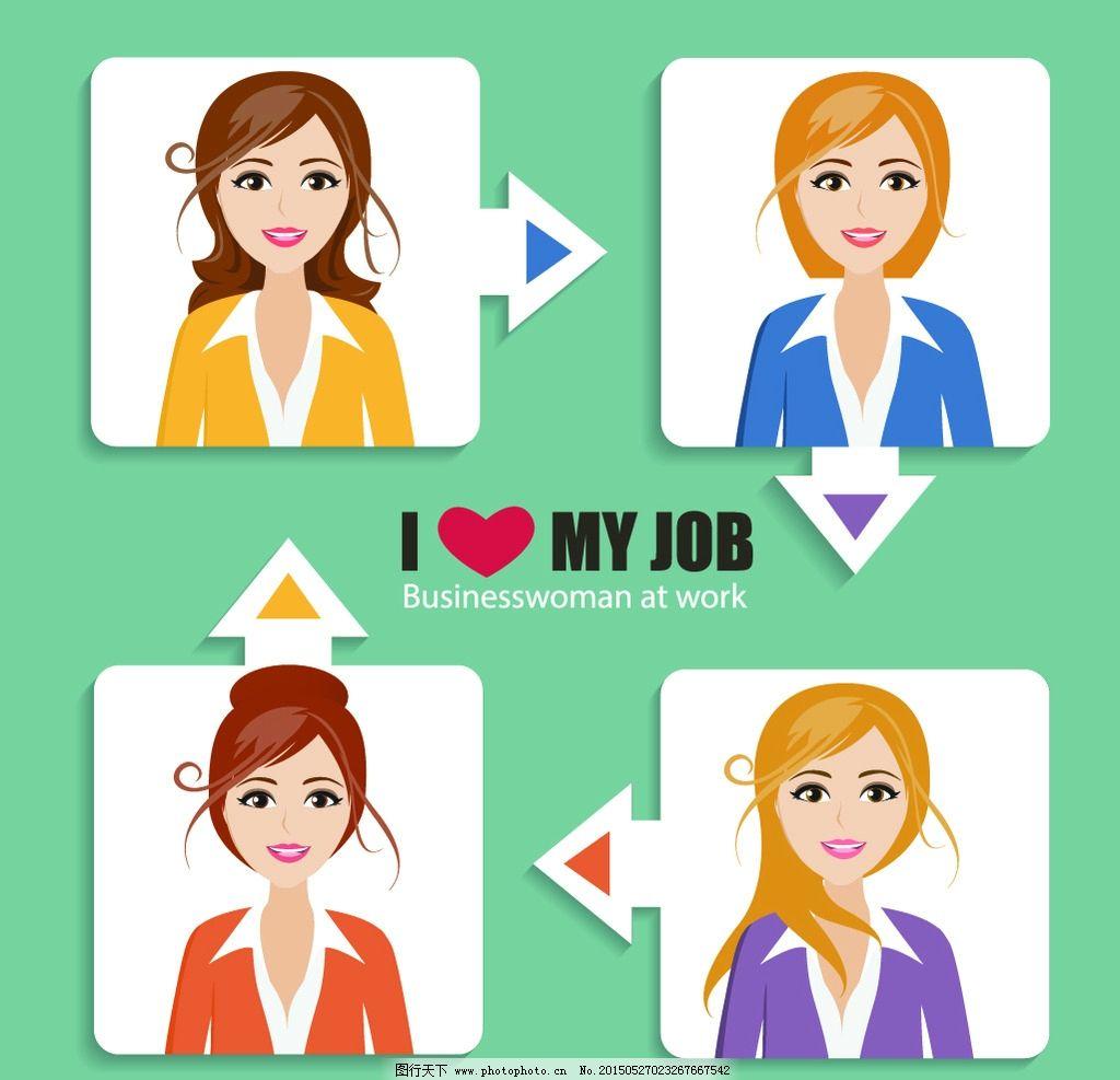 职业女性 商务人物 人物表情 白领 笑容 微笑 秘书 手绘人物 简笔画
