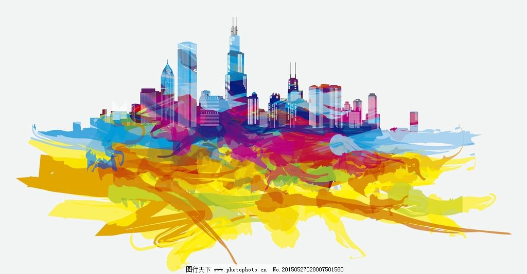 芝加哥手绘彩色城市素材图片