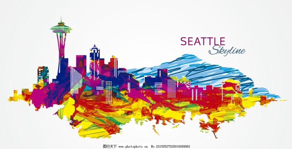 西雅图彩色手绘城市素材图片