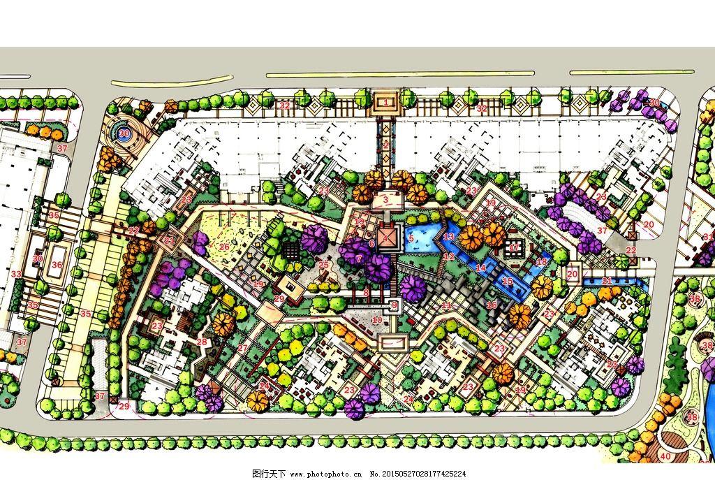手绘 总平图 彩平 景观设计 环境设计 手绘 设计 环境设计 景观设计 2