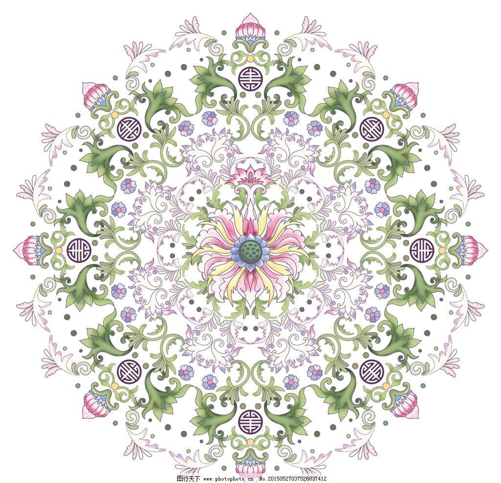 手绘花卉 绿叶 对称花纹 装饰花纹 无缝 边框 荷花 叶子水彩画 绘画