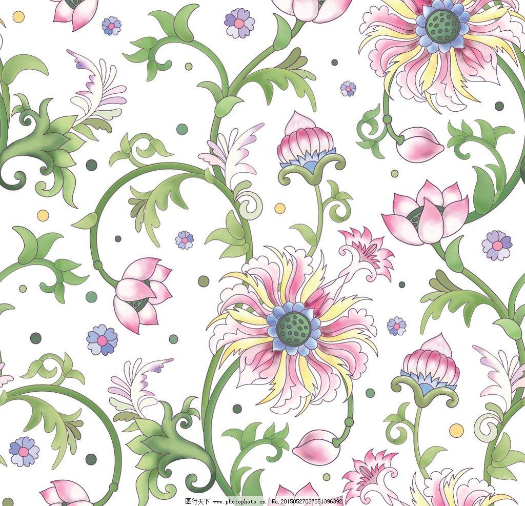 手绘花卉 绿叶 对称图案 装饰花纹 无缝 边框 荷花 叶子水彩画 绘画