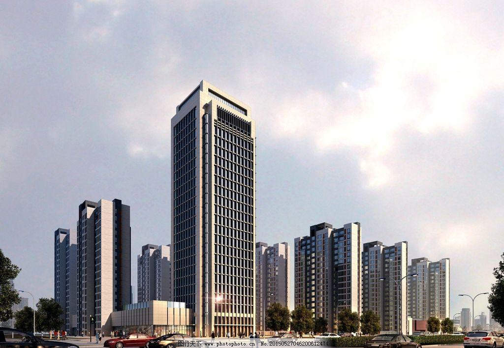高层 办公楼 转角建筑 商业裙房 现代办公 设计 环境设计 建筑设计 72