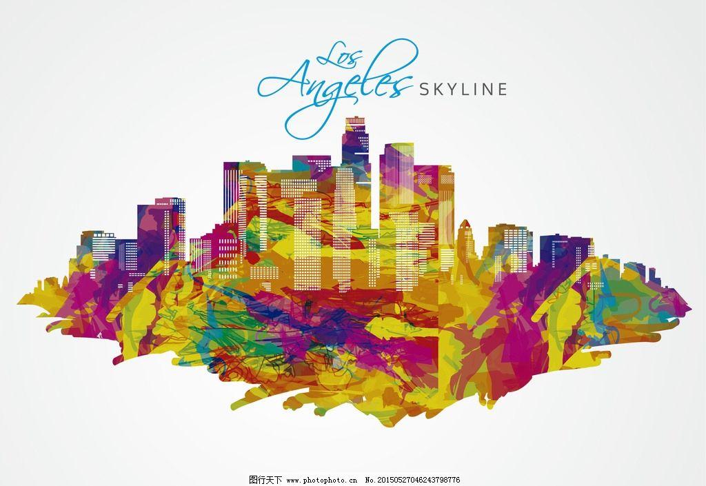 洛杉矶手绘彩色城市矢量图片_特效笔刷_ps笔刷_图行
