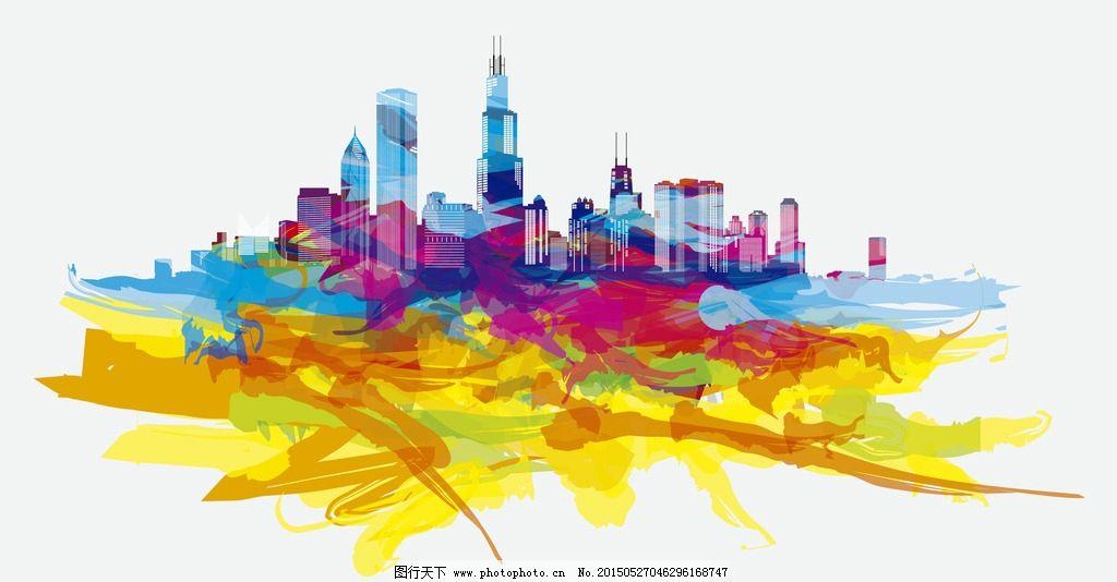 芝加哥手绘彩色城市素材 地标 建筑物 矢量 共享素材 环境设计