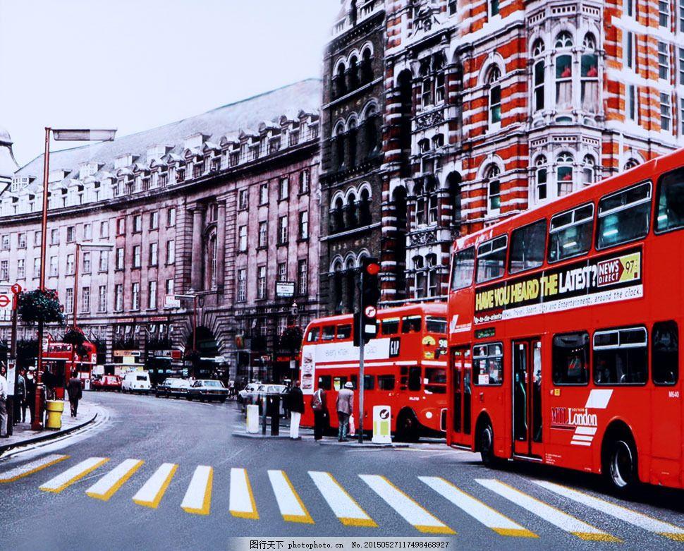 大街上的双层巴士影楼摄影背景 影楼素材 影楼背景 喷绘背景 高清背景图片