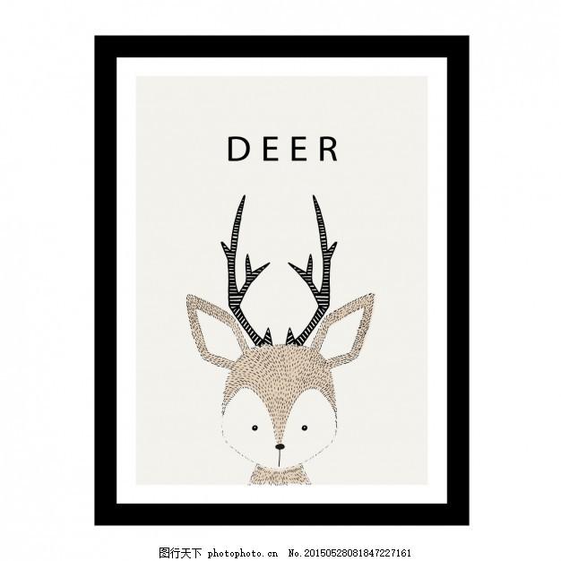 可爱的手绘鹿设计 背景 框架 动物 手画 壁纸 插图 可爱的动物