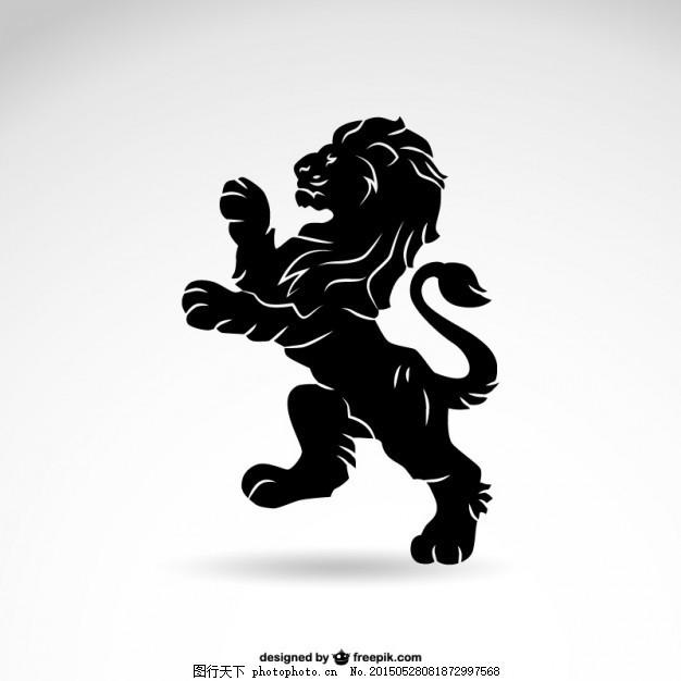 纹章狮子剪影 设计 动物 狮子 艺术 纹身 图形 轮廓 平面设计 黑色 国