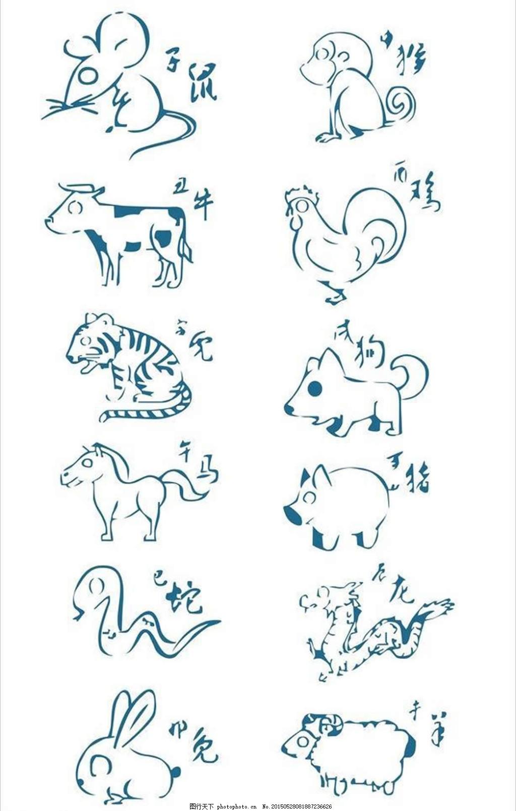 简笔画十二生肖 鼠牛虎兔龙蛇马羊猴鸡狗猪 简笔画动物 简笔画生肖