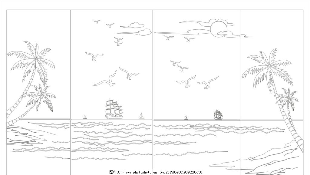 海洋帆船手绘图