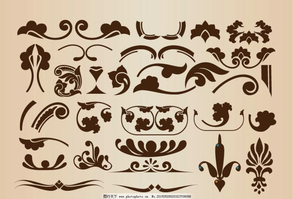欧式手绘花纹 复古手绘花纹 精美欧式花纹 欧式花纹花边 边框 底纹