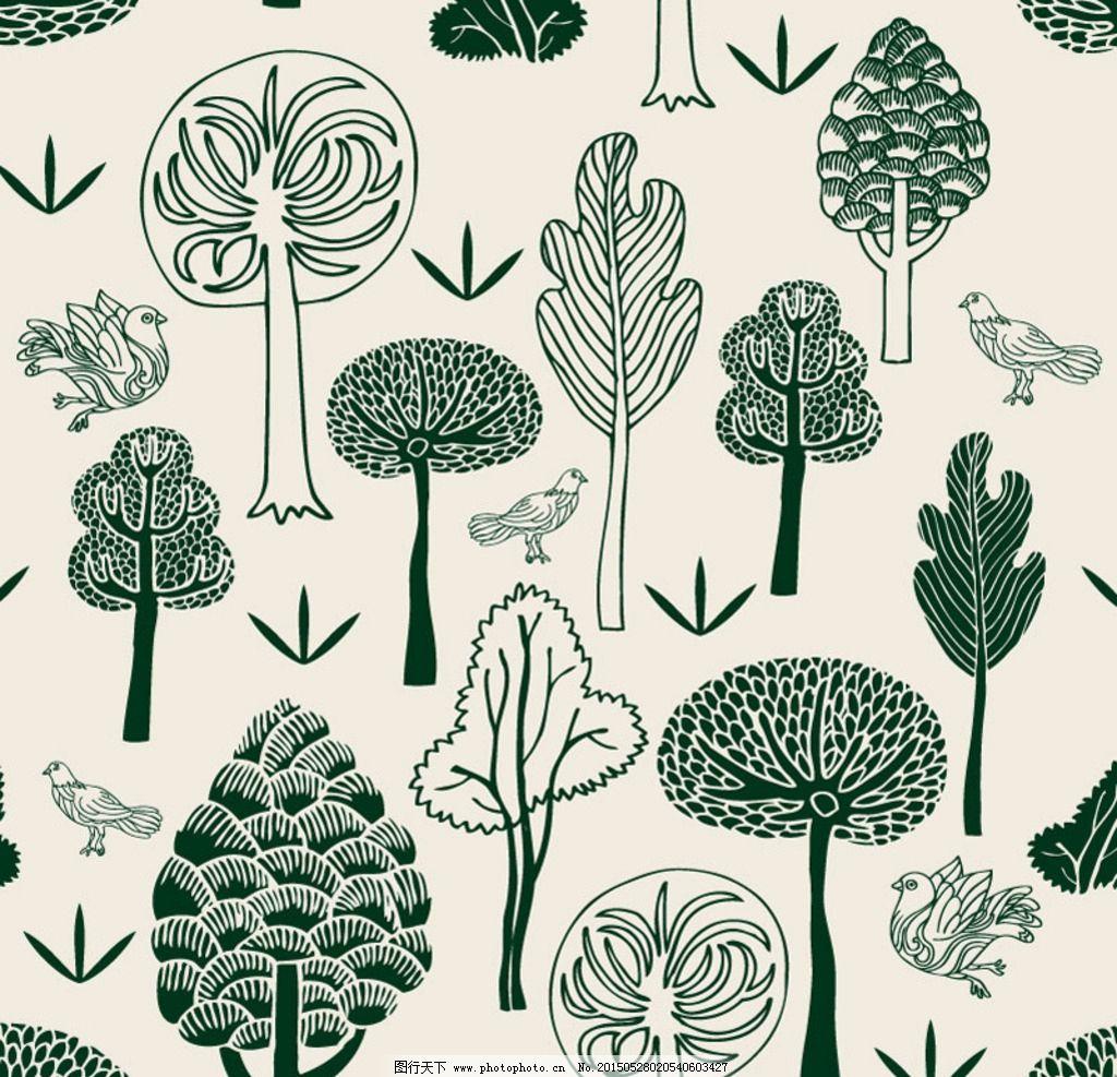 手绘 森林与鸽子 树木 简笔画 草木 儿童简笔画 可爱 童年 矢量素材