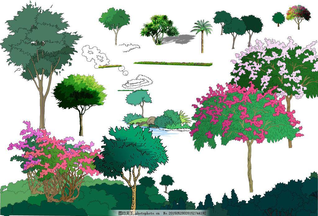 手绘树木 手绘植物 园林设计 园林小品 psd素材 植物 树木 草丛素材