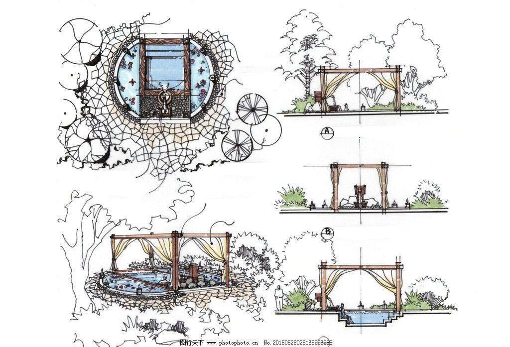 手绘 总平面 景观设计 环境艺术 高清 泡池 亭子 设计 环境设计 景观