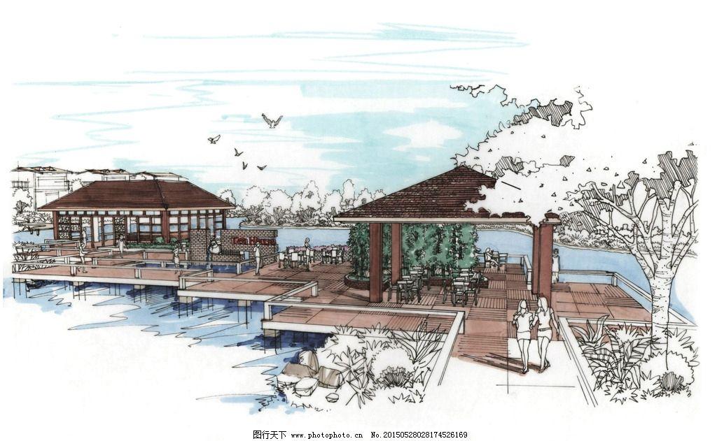 手绘 总平面 景观设计 环境艺术 茶室        设计 环境设计 景观设计