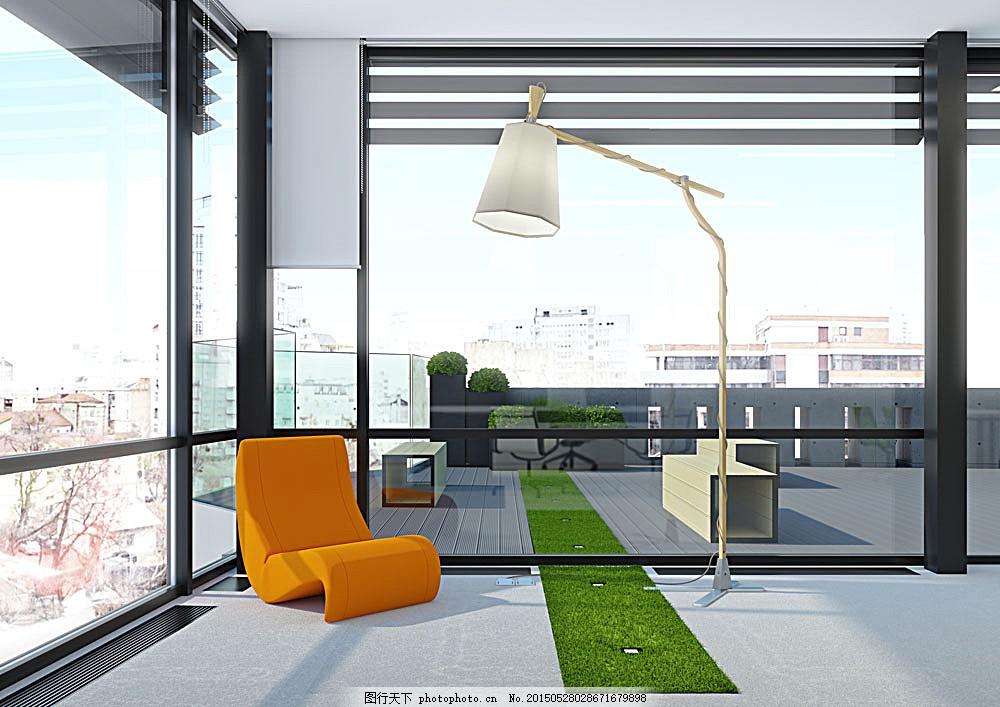 现代客厅设计 玻璃窗 椅子 台灯 房屋设计 装修设计 装潢 室内设计