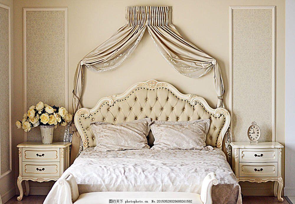 欧式卧室效果图 睡房 双人床 床头柜 时尚家居 室内装修设计 室内装潢
