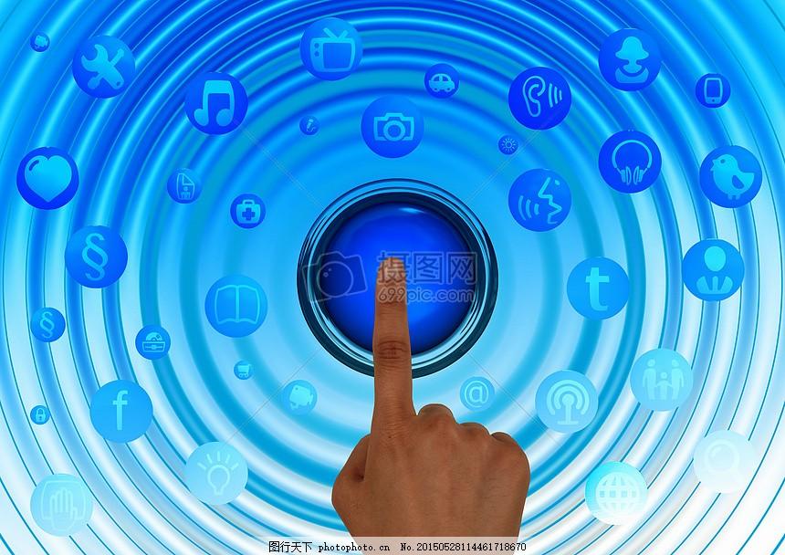 手指下的蓝色屏幕 手指 触摸 手 结构 互联网 网络 社会 社会网络