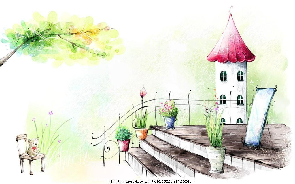 手绘动漫 彩色 房屋 街景 背景 插图 白色