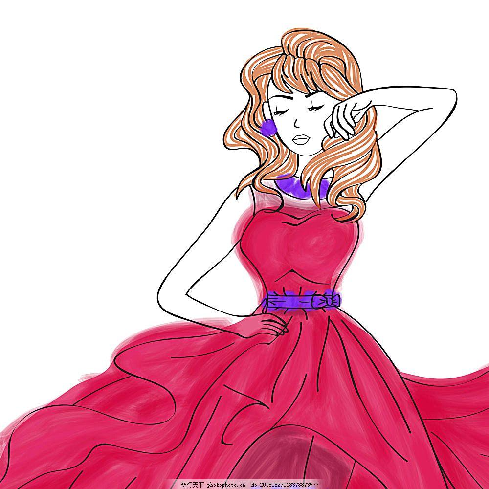 手绘卡通女孩 卡通美女插画 穿裙子的女孩 卡通女孩漫画 时尚女性插画