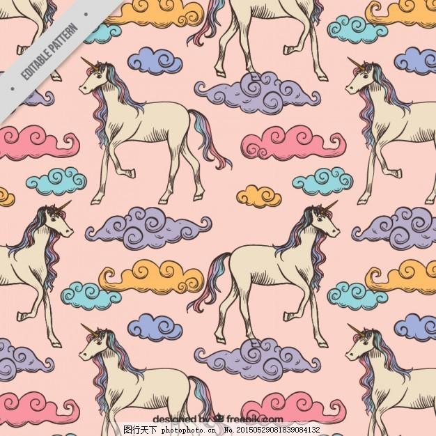 手绘彩色祥云图案的独角兽,背景 花冠 动物 钻石-图行