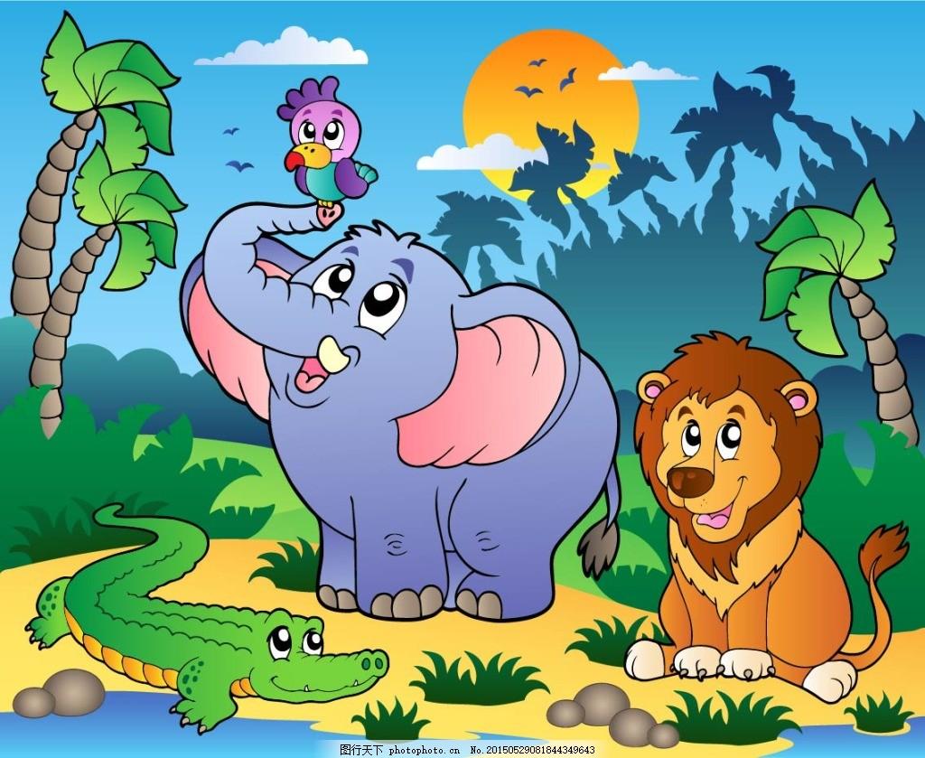 卡通动物 动物 森林 卡通 eps 青色 天蓝色 eps