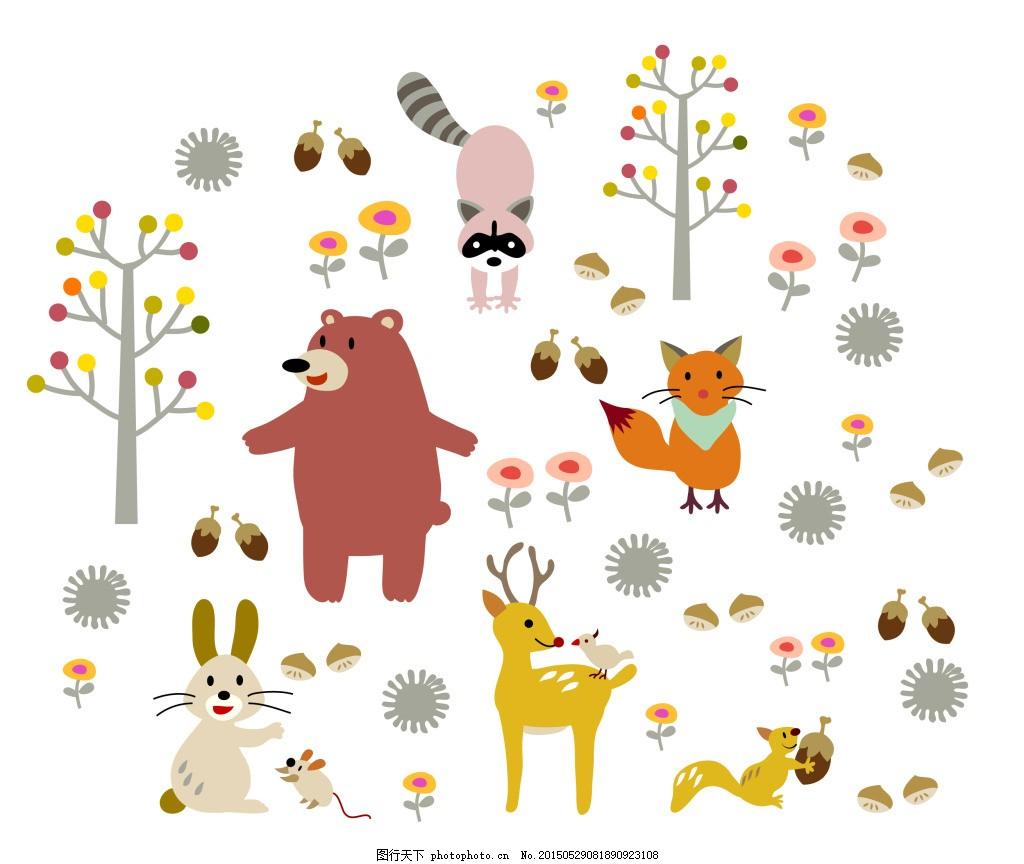 动物设计图 矢量图 彩色 白色