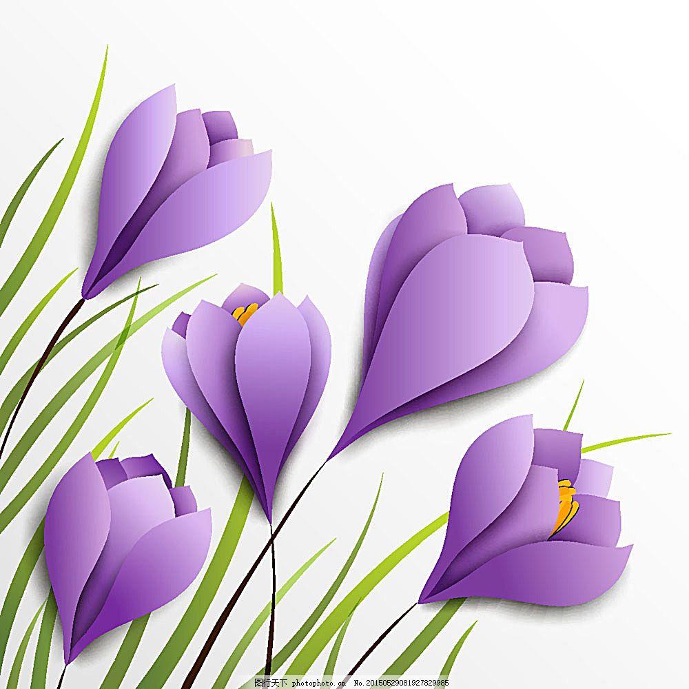矢量紫色花朵 植物 花朵 花卉 绿叶 紫色花 手绘花 花草树木 生物世界