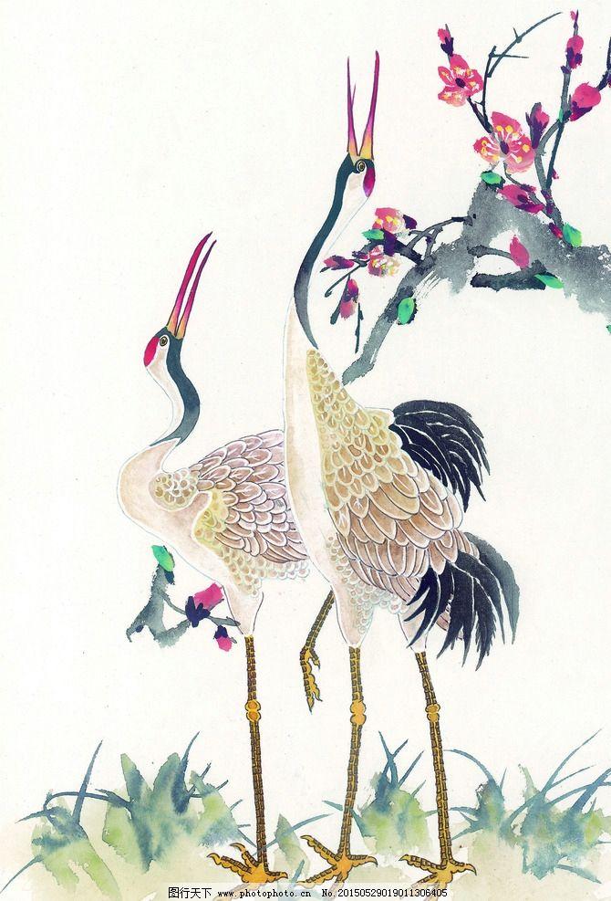 仙鹤 梅花 绘画 花鸟 工笔 国画 设计 文化艺术 绘画书法 350dpi jpg