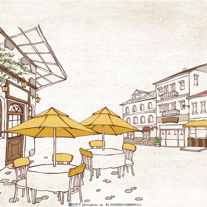 咖啡馆手绘主图