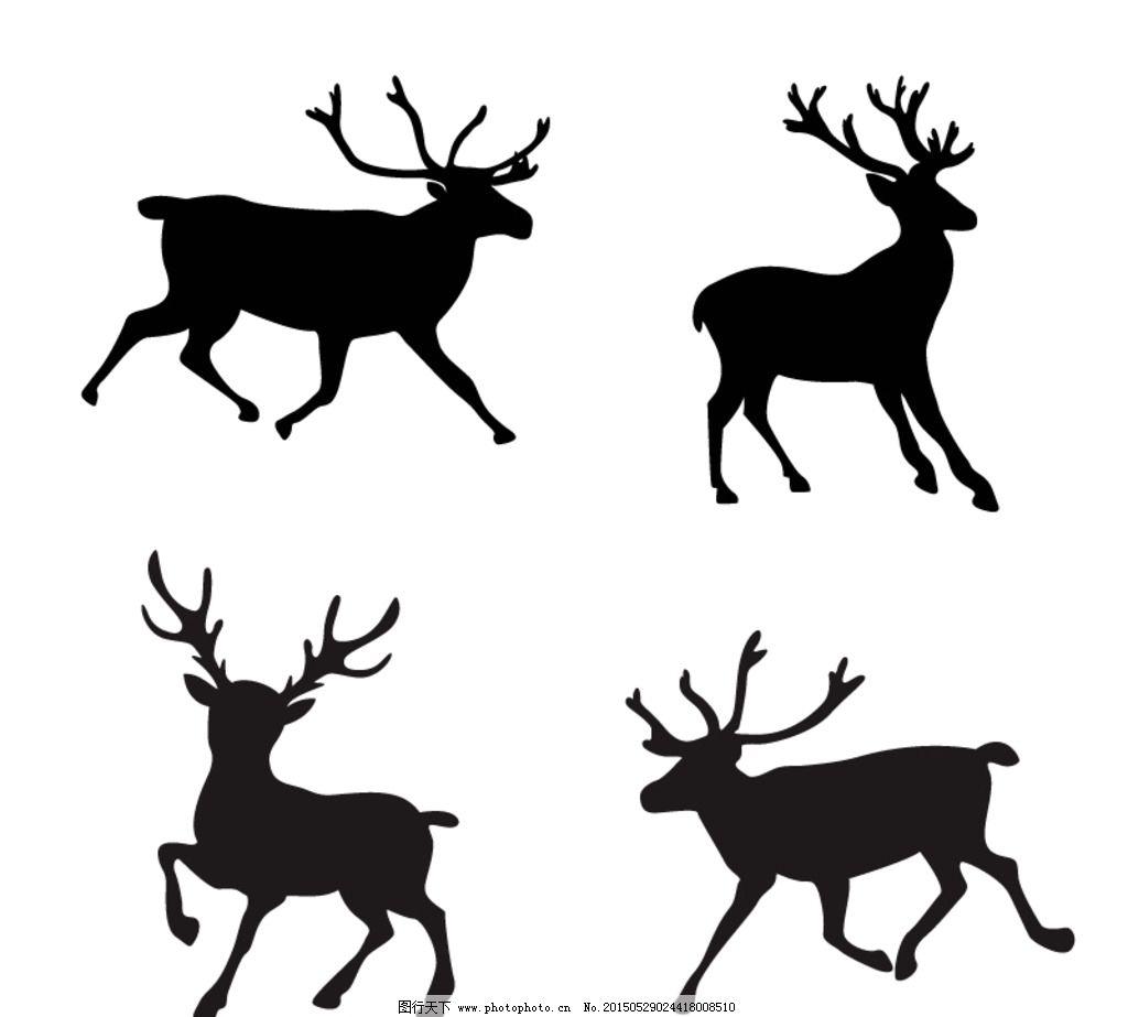 麋鹿 剪影 矢量 素材 ai 黑白 剪影素材 设计 生物世界 野生动物 ai