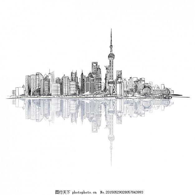 手绘景观 的背景下 城市 建筑 小品 天际线 绘画 插图 城市景观