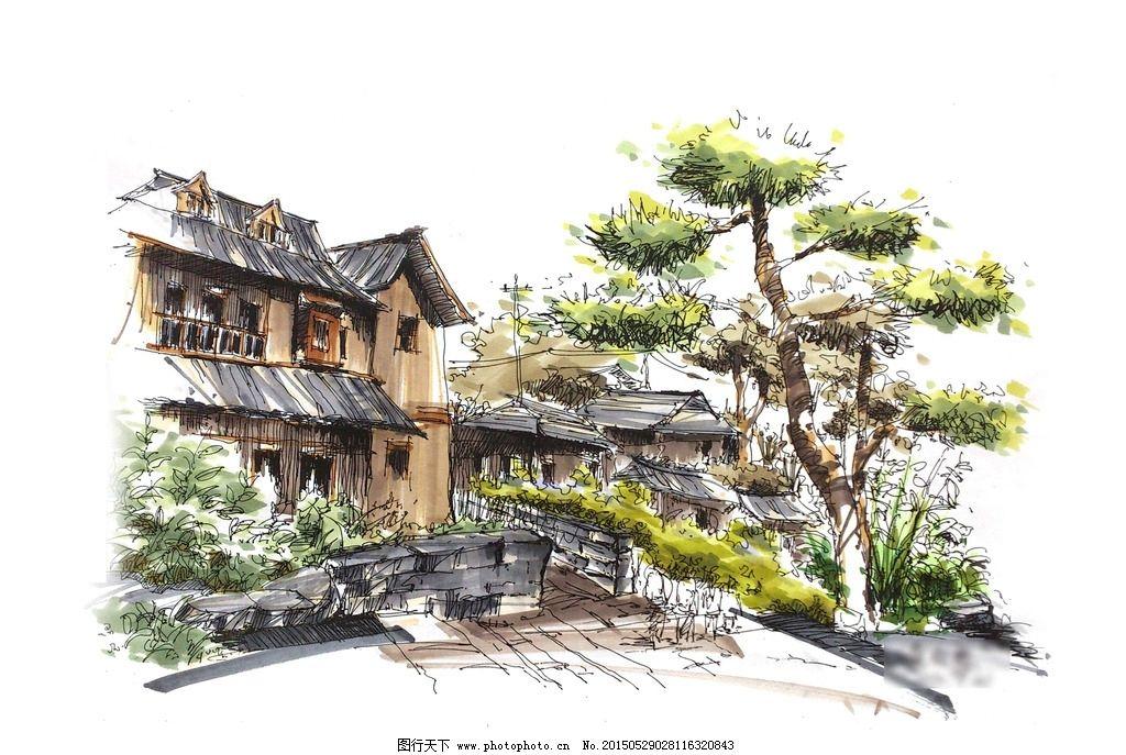 实习 写生 手绘 校稿 马克笔 风景 景观 园林 环境 艺术 城市 公园