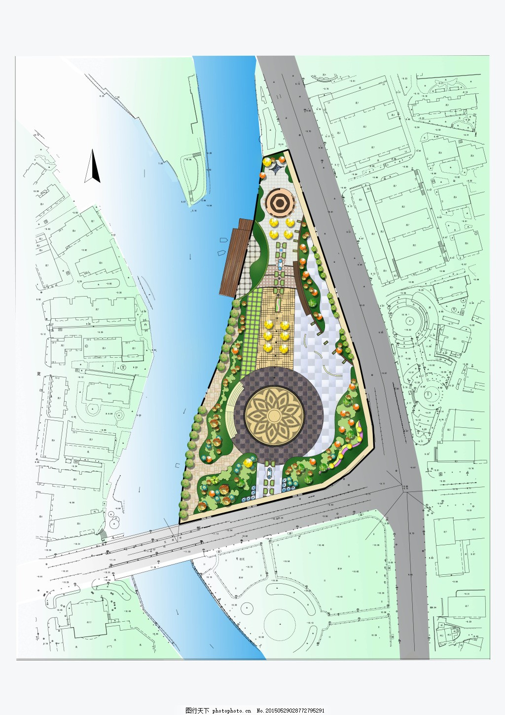 园林景观彩色平面图 广场 铺装 河流 景观设计 白色