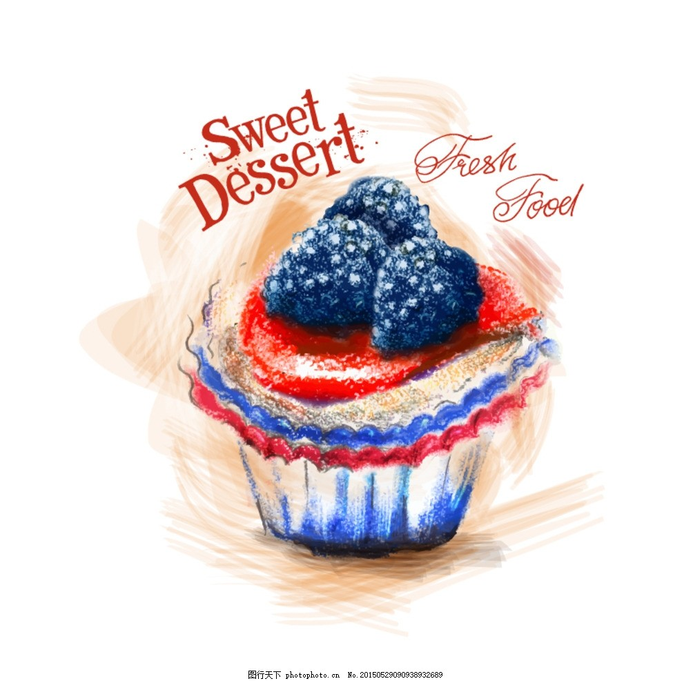彩绘 手绘 颜料 彩铅 绘画 美术 蛋糕 纸杯蛋糕 美食 美味 食物 食品图片