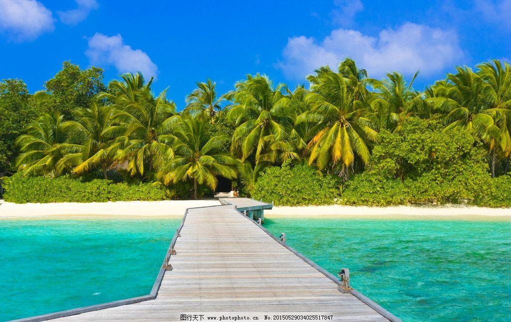 沙滩 大海 海滩 木桥 椰树 马尔代夫 热带 摄影风景 摄影 旅游摄影