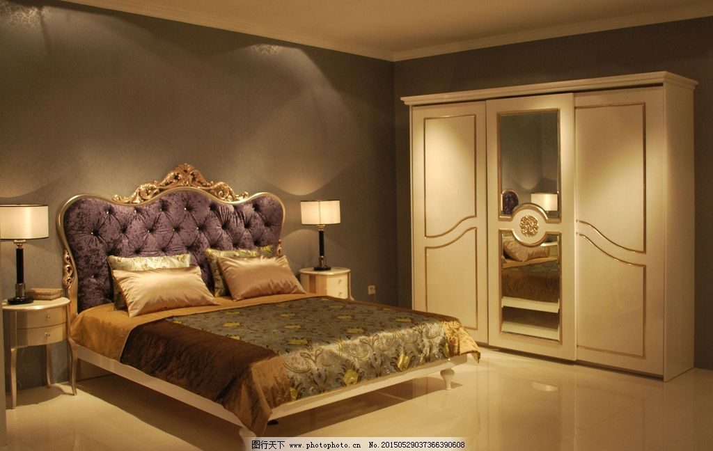 床头柜 实木家具 家具套房家具 欧式风格 美式家具 国外家居 床 大床