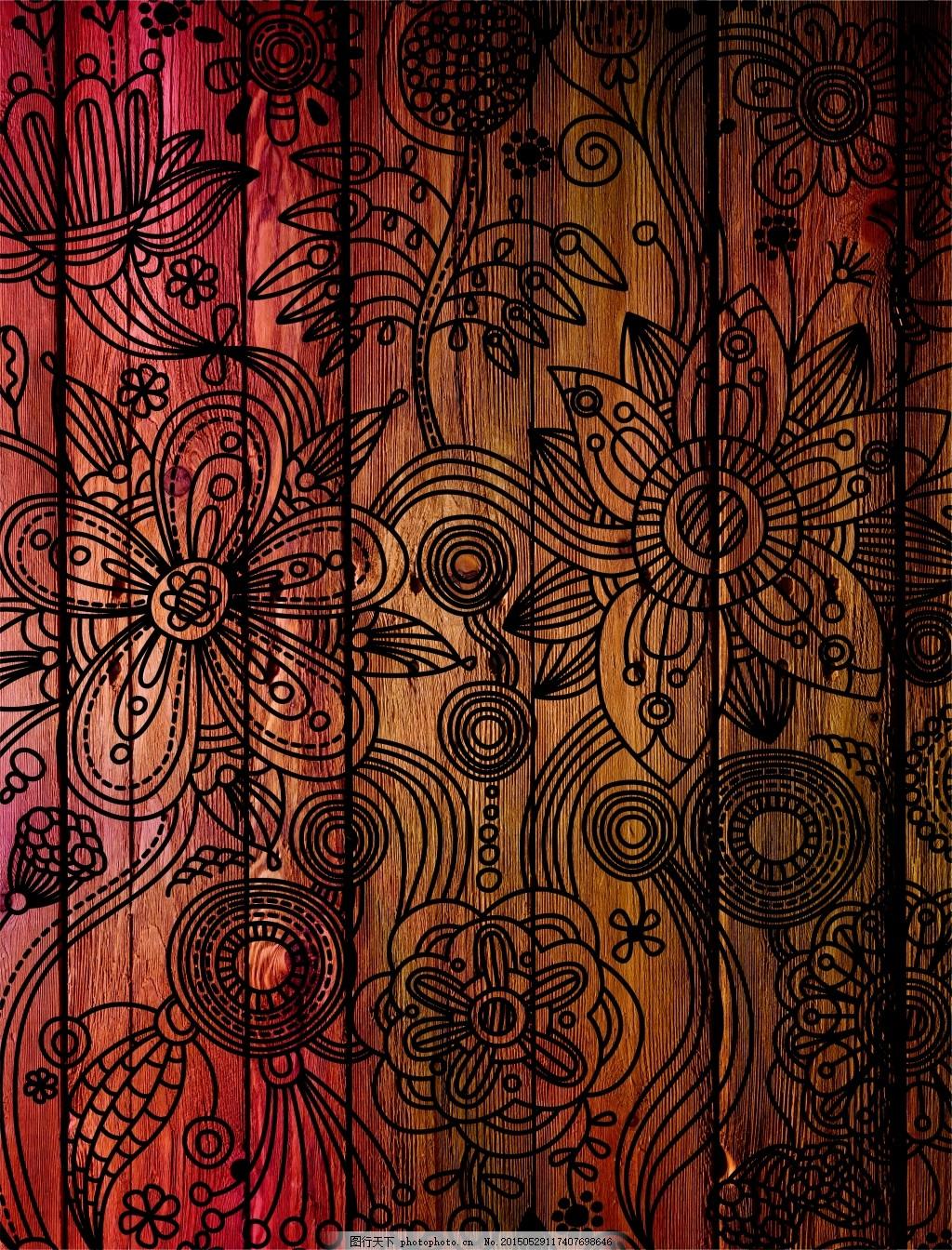 线描花纹图案装饰高清摄影 摄影      木纹 木板 木质 材质 贴图 复古